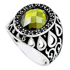 Green peridot quartz topaz 925 sterling silver mens ring size 10.5 c11461