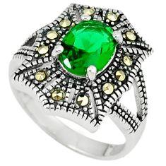 Green russian nano emerald marcasite 925 silver ring jewelry size 8 c22967