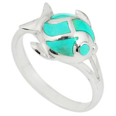 Green turquoise enamel 925 sterling silver fish ring size 6 c12970