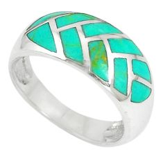 Green turquoise enamel 925 sterling silver ring jewelry size 7 a67588 c13606