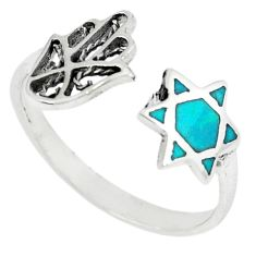 Green turquoise tibetan 925 silver adjustable ring jewelry size 9.5 c10702