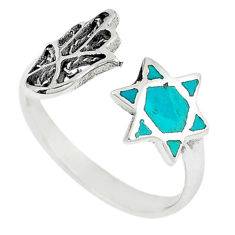 Green turquoise tibetan 925 silver adjustable ring jewelry size 7.5 c10707