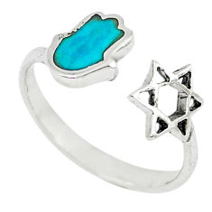 Green turquoise tibetan 925 silver adjustable ring jewelry size 7 c10760
