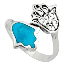 Green turquoise tibetan 925 silver adjustable ring jewelry size 9 c10730