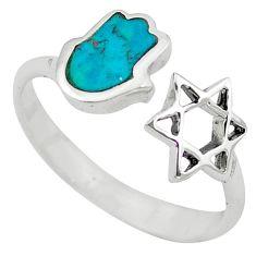 Green turquoise tibetan 925 silver adjustable ring size 6 c10759
