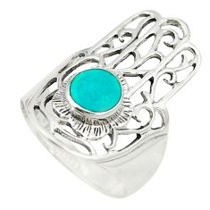 Green turquoise tibetan 925 silver hand of god hamsa ring size 6.5 c12755