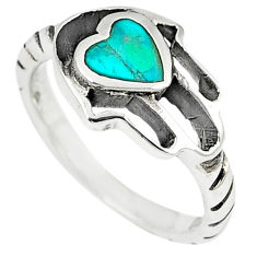 Green turquoise tibetan 925 silver hand of god hamsa ring size 6 c10686