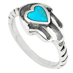 Green turquoise tibetan 925 silver hand of god hamsa ring size 7 c10682