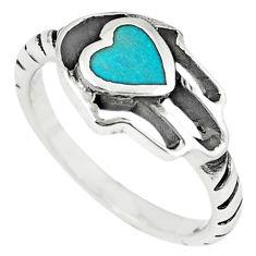 Green turquoise tibetan 925 silver hand of god hamsa ring size 7 c10694