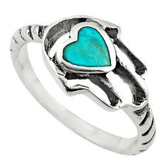 Green turquoise tibetan 925 silver hand of god hamsa ring size 8 c10684