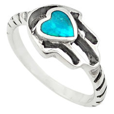 Green turquoise tibetan 925 silver hand of god hamsa ring size 8 c10693