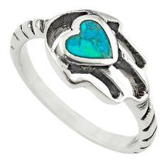 Green turquoise tibetan 925 silver hand of god hamsa ring size 8 c10699
