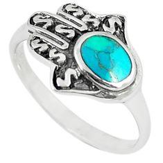 Green turquoise tibetan 925 silver hand of god hamsa ring size 9 c10713