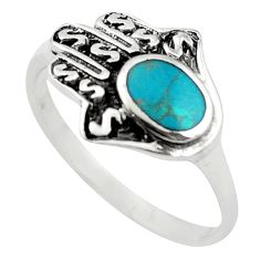 Green turquoise tibetan 925 silver hand of god hamsa ring size 9 c10729