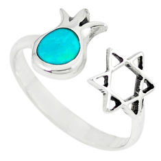 Green turquoise tibetan 925 sterling silver adjustable ring size 8 c10750