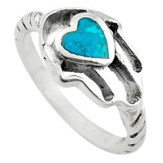 Green turquoise tibetan 925 sterling silver hand of god hamsa ring size 7 c10683