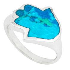 Green turquoise tibetan enamel 925 silver hand of god hamsa ring size 6 c11002