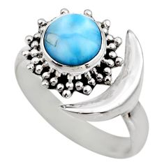 3.01cts half moon natural blue larimar 925 silver adjustable ring size 7 r53206