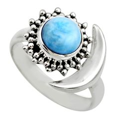 3.36cts half moon natural blue larimar 925 silver adjustable ring size 7 r53212