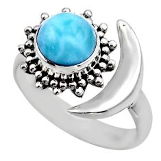 3.19cts half moon natural blue larimar 925 silver adjustable ring size 8 r53204