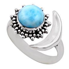 3.20cts half moon natural blue larimar 925 silver adjustable ring size 8 r53210