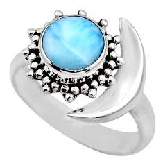 2.92cts half moon natural blue larimar silver adjustable ring size 7.5 r53207