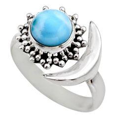 3.19cts half moon natural blue larimar silver adjustable ring size 8.5 r53208