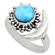 3.19cts half moon natural blue larimar silver adjustable ring size 8.5 r53211