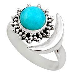 Half moon natural green peruvian amazonite silver adjustable ring size 7 r53227