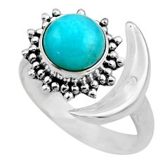 Half moon natural green peruvian amazonite silver adjustable ring size 7 r53229