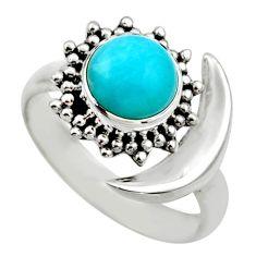 Half moon natural green peruvian amazonite silver adjustable ring size 8 r53223