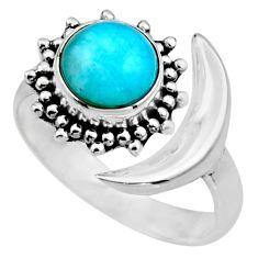 Half moon natural green peruvian amazonite silver adjustable ring size 8 r53228