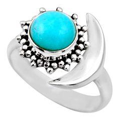 Half moon natural peruvian amazonite 925 silver adjustable ring size 7 r53222