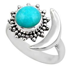 Half moon natural peruvian amazonite 925 silver adjustable ring size 8 r53221