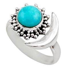 Half moon natural peruvian amazonite 925 silver adjustable ring size 9 r53226