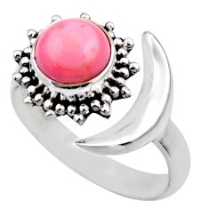 Half moon natural pink queen conch shell silver adjustable ring size 8.5 r53268
