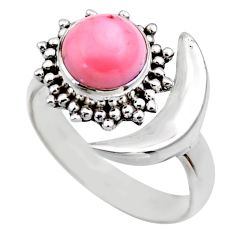 Half moon natural pink queen conch shell silver adjustable ring size 7 r53267
