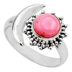 Half moon natural pink queen conch shell silver adjustable ring size 9 r53266