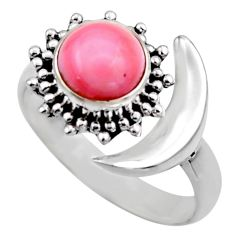 Half moon natural pink queen conch shell silver adjustable ring size 9 r53270
