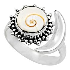 4.69cts half moon natural white shiva eye silver adjustable ring size 8 r53230