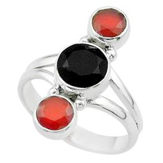 Clearance Sale- 3.82cts halloween natural black onyx cornelian 925 silver ring size 7 t57694