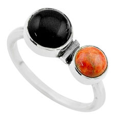4.89cts halloween natural black onyx cornelian 925 silver ring size 8 t57756