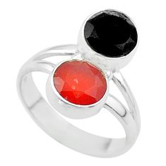 Clearance Sale- 5.22cts halloween natural black onyx cornelian 925 silver ring size 5.5 t57710