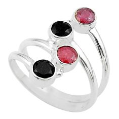 Clearance Sale- 1.74cts halloween natural black onyx ruby silver adjustable ring size 8 t57739