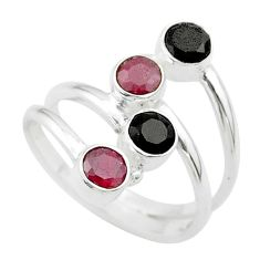 Clearance Sale- 1.74cts halloween natural black onyx ruby silver adjustable ring size 7.5 t57729
