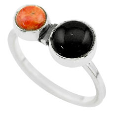 Clearance Sale- 3.29cts halloween natural black onyx sponge coral 925 silver ring size 9 t57741