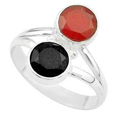 Clearance Sale- 5.43cts halloween natural cornelian (carnelian) onyx silver ring size 5.5 t57666