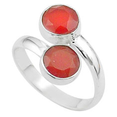 5.84cts halloween natural cornelian 925 silver adjustable ring size 8.5 t57955