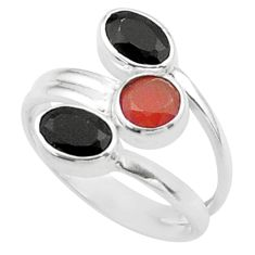 Clearance Sale- 3.65cts halloween natural cornelian onyx silver adjustable ring size 6 t57936