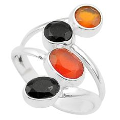 4.70cts halloween natural cornelian onyx silver adjustable ring size 7 t57869